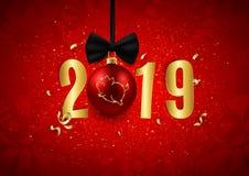 El logotipo del brillo del cerdo en bola decorativa de la Navidad con oro numera, símbolo del horóscopo del chino del Año Nuevo 2 libre illustration