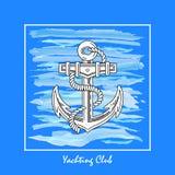 El logotipo del club náutico hecho en un fondo del mar agita, ejemplo del vector un ancla de la nave ilustración del vector