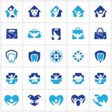 El logotipo del cuidado de la gente y de los niños diseña, hospital y los símbolos dentales, bolso, pájaro, colección de los icon Foto de archivo libre de regalías