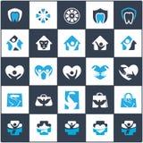 El logotipo del cuidado de la gente y de los niños diseña, hospital y los símbolos dentales, bolso, pájaro, colección de los icon Fotos de archivo libres de regalías