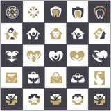 El logotipo del cuidado de la gente y de los niños diseña, hospital y los símbolos dentales, bolso, pájaro, colección de los icon Fotos de archivo