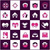 El logotipo del cuidado de la gente y de los niños diseña, hospital y los símbolos dentales, bolso, pájaro, colección de los icon Fotografía de archivo libre de regalías