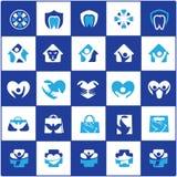 El logotipo del cuidado de la gente y de los niños diseña, hospital y los símbolos dentales, bolso, pájaro, colección de los icon Imagenes de archivo
