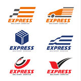 El logotipo del servicio de envío express con el coche del transporte, la caja, el círculo de la flecha y el pájaro firman diseño Imagen de archivo