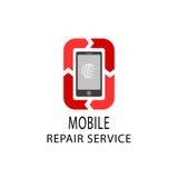 El logotipo del servicio de reparación, fija el móvil y hace tabletas los dispositivos Imagenes de archivo