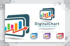 El logotipo del vector de la carta de Digitaces con diseños de concepto modernos utiliza para la compañía de la contabilidad, el  ilustración del vector