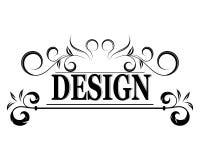 El logotipo del vintage del vector con el texto del diseño Fotografía de archivo
