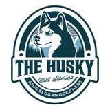 El logotipo fornido del emblema - simbolice el logotipo del husky siberiano imagen de archivo