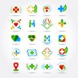 El logotipo médico de la farmacia 20 y de la atención sanitaria diseña, los iconos fijados Ejemplos aislados Fotografía de archivo