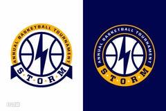 El logotipo moderno del baloncesto profesional fijó para el equipo de deporte stock de ilustración