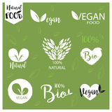 El logotipo natural, bio, fresco, sano de la comida fijó en vector Imagenes de archivo
