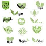 El logotipo natural, bio, fresco, sano de la comida fijó en vector Fotografía de archivo libre de regalías