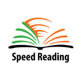 El logotipo para los cursos de lectura de la velocidad o las palabras por minuto prueba stock de ilustración
