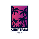 El logotipo y los emblemas que practican surf para la resaca aporrean o hacen compras Ilustración del vector Fotografía de archivo