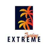 El logotipo y los emblemas que practican surf para la resaca aporrean o hacen compras Ilustración del vector Imágenes de archivo libres de regalías