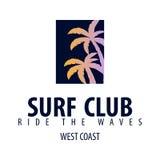 El logotipo y los emblemas que practican surf para la resaca aporrean o hacen compras Ilustración del vector Foto de archivo
