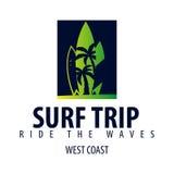 El logotipo y los emblemas que practican surf para la resaca aporrean o hacen compras Ilustración del vector Imagen de archivo