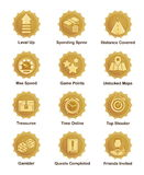 El logro de oro badges para la pistola, corredor, juego de arcada Stock de ilustración