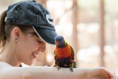 El loro se sienta en la mano de una mujer joven en el parque zoológico australiano Gan Guru en los kibutz Nir David, en Israel Imágenes de archivo libres de regalías