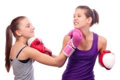 El luchar bonito de las muchachas del boxeo de retroceso Fotos de archivo libres de regalías