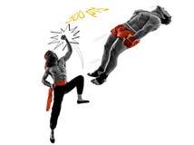 El luchar de dos del manga de los videojuegos combatientes de los artes marciales Foto de archivo libre de regalías
