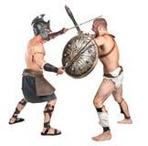 El luchar de los gladiadores Imágenes de archivo libres de regalías