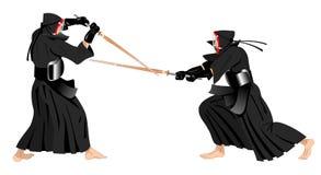 El luchar de los guerreros de Kendo Imagen de archivo libre de regalías