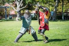 El luchar medieval de los caballeros fotografía de archivo
