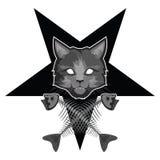 El Lucipurr - gato malvado, pentagram y huesos de pescados cruzados stock de ilustración