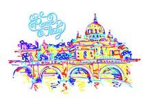 El lugar de Roma Italia, dibujo original en arco iris colorea el contemp stock de ilustración