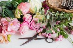 El lugar de trabajo del florista Fotografía de archivo