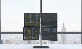 El lugar de trabajo o la estación de un comerciante moderno que consisten en cuatro pantallas con datos financieros en un espacio Imagen de archivo