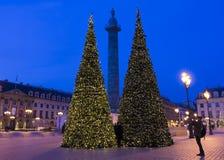 El lugar Vendome adornado para la Navidad, París, Francia imágenes de archivo libres de regalías