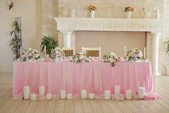 El lujo adornó la tabla del recién casado de la boda Foto de archivo