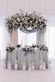 El lujo adornó la tabla del recién casado de la boda Fotografía de archivo