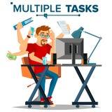 El múltiplo encarga al hombre de negocios Vector Muchas manos que hacen tareas simultáneamente Estrategia empresarial Ejemplo pla libre illustration