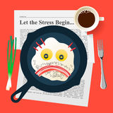El mún humor, cara triste hace con los huevos fritos y el tocino Imagenes de archivo