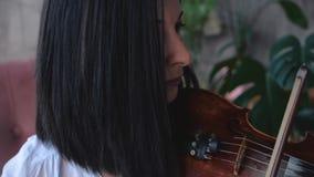 El músico de la mujer en la camisa blanca toca el violín almacen de video