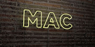 El MAC - señal de neón realista en fondo de la pared de ladrillo - 3D rindió imagen común libre de los derechos Imagenes de archivo