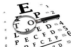 El magnificar con la carta de ojo Foto de archivo libre de regalías