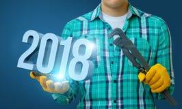 El mago muestra los números 2018 Fotos de archivo libres de regalías