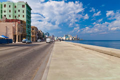 El malecon, a cuban landmark in Havana. El malecon, the sea promenade running along  the coast of Havana Royalty Free Stock Photos