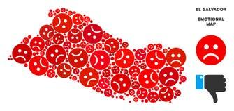 EL malheureux Salvador Map Mosaic de vecteur des smiley tristes illustration stock