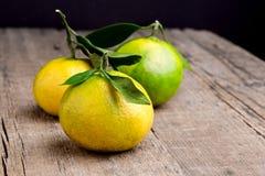 El mandarín maduro con la fruta cítrica del mandarín de la mandarina de las hojas en los agrios de madera del fondo de la tabla c Fotos de archivo