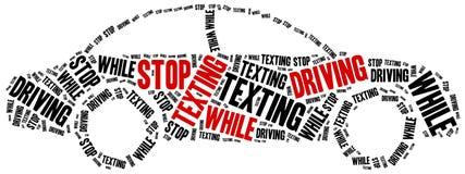El mandar un SMS y conducción Mensaje de advertencia Fotografía de archivo
