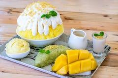 El mango Bingsu, Korian afeitó el hielo Fotografía de archivo libre de regalías
