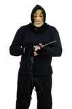El maniaco enmascarado celebra un taladro eléctrico Fotos de archivo libres de regalías
