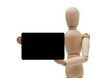 El maniquí aislado sostiene un de la tarjeta de crédito Foto de archivo