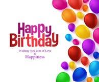 El manojo colorido de feliz cumpleaños hincha el fondo para el partido Imagenes de archivo