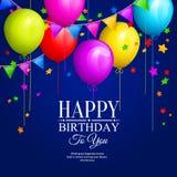 El manojo de cumpleaños colorido hincha con las estrellas y las banderas coloridas de los empavesados en fondo azul Vector Foto de archivo